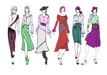 Wall Mural - Stylish fashion models. Pretty young girls. Fashion womans Sketch