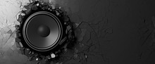 Wall Mural - Loudspeaker on a black wall background. 3d illustration
