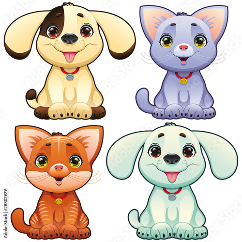 Wall Mural - Cute dogs and cats. Vector animal isolated characters