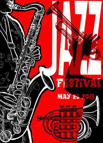 Sticker - Jazz poster with saxophonist