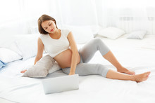 Wall Mural - Pregnant Woman Using Laptop Computer