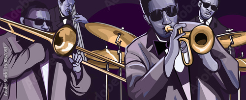 Sticker - jazz band with trombonne trumpet double bass and drum