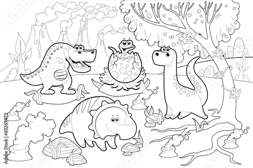 Wall Mural - Funny dinosaurs in a prehistoric landscape, black and white.