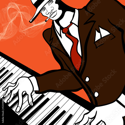 Sticker - Jazz piano player