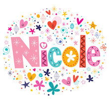 Wall Mural - Nicole female name design decorative lettering type