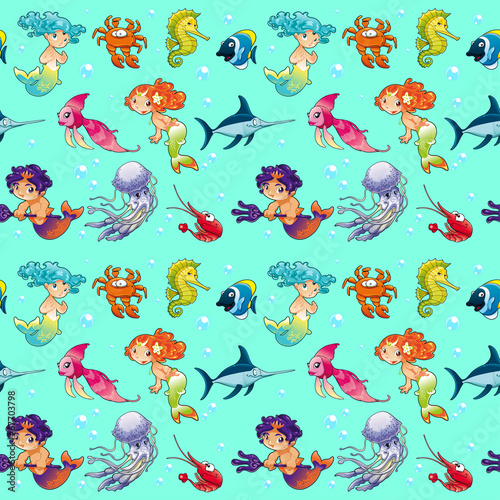 Wall Mural - Funny sea animals with mermaids and background.