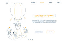 Wall Mural - Business growth - line design style isometric web banner