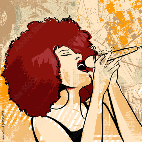 Sticker - jazz singer on grunge background