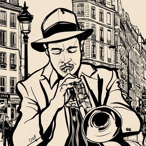 Sticker - trumpet player on a cityscape background
