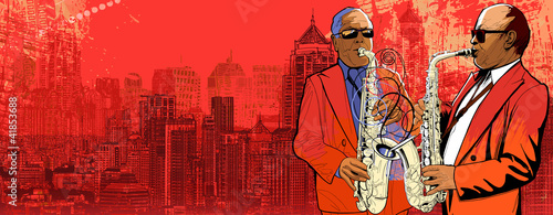Sticker - two saxophonist over a background panoramic view of modern city