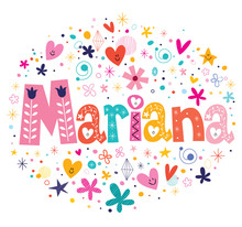 Wall Mural - Mariana female name decorative lettering type design